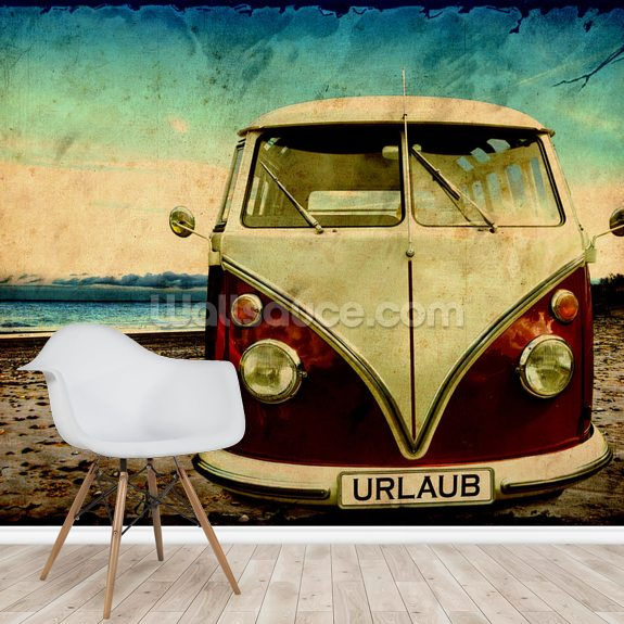 VW Camper on the Beach wall mural room setting