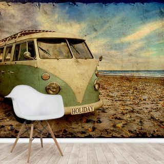 Green VW Camper on the Beach