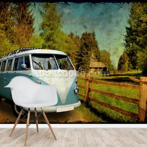 VW Camper Blue mural wallpaper room setting