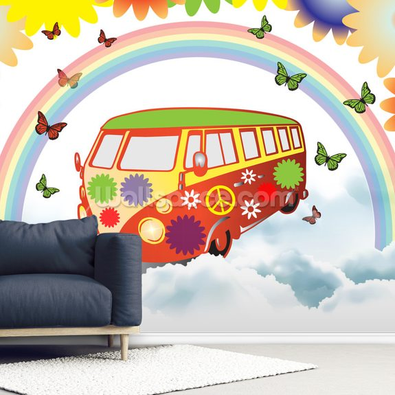 VW Camper Flower Power wall mural room setting