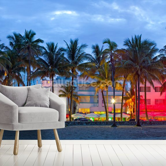 Miami Beach with Palm Trees mural wallpaper room setting