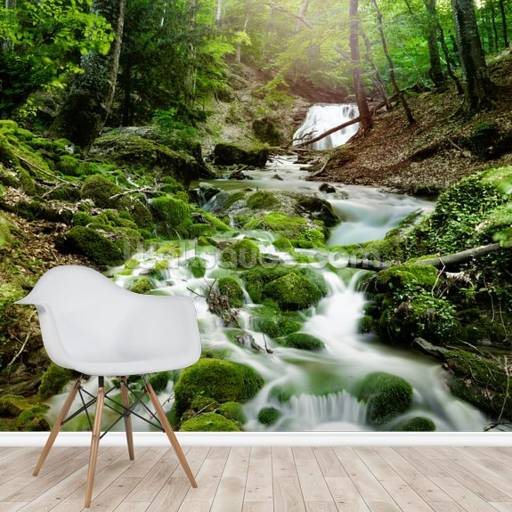 Foggy Forest Waterfall mural wallpaper room setting