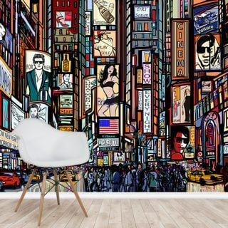 Times Square Abstract Wallpaper Wall Murals