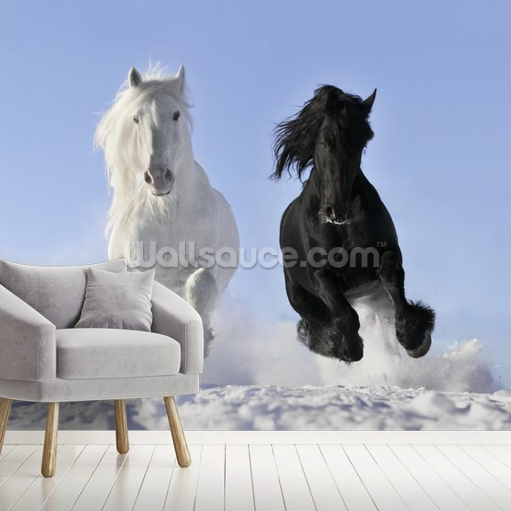 Horses in Snow wall mural room setting