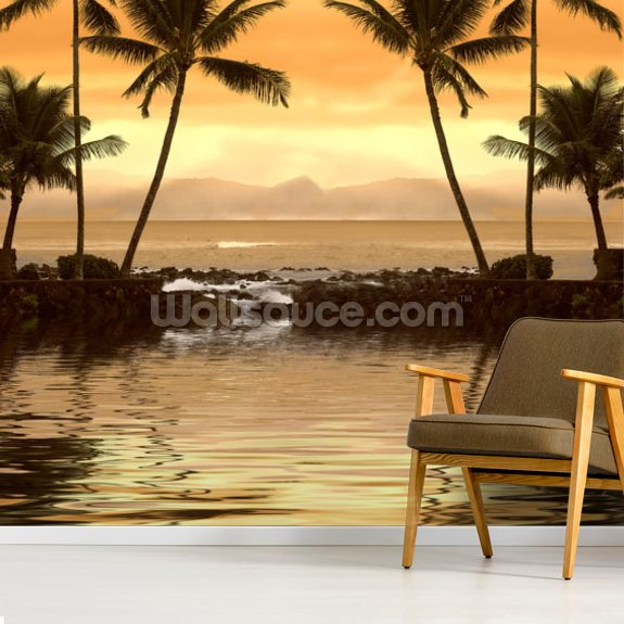 Tropical Sunset wallpaper mural room setting