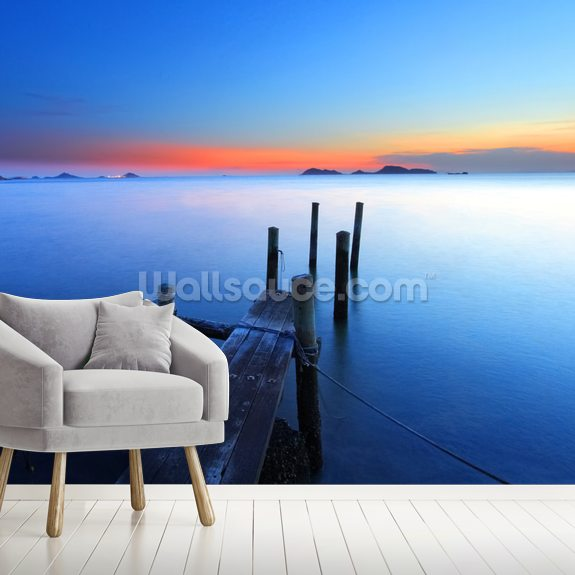 Wooden Jetty Sunset mural wallpaper room setting