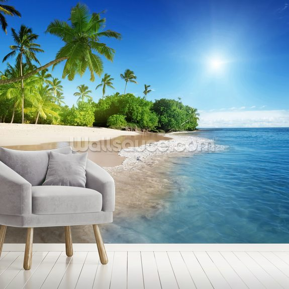 Caribbean Palms wall mural room setting