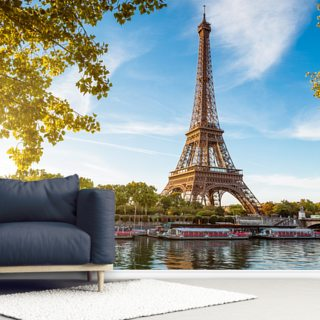 River Seine & Eiffel Tower Wallpaper Wall Murals