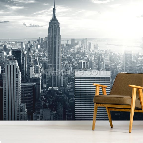 Empire State Building wallpaper mural room setting