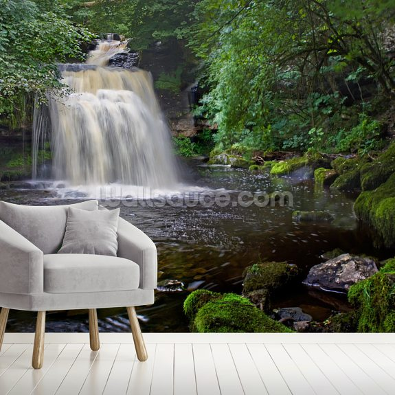 West Burton Waterfall mural wallpaper room setting