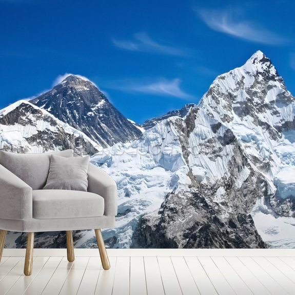 Everest and Lhotse Mountains mural wallpaper room setting