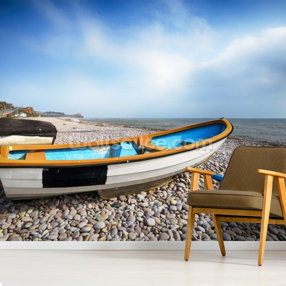 Boats at Budleigh Salterton wallpaper mural room setting