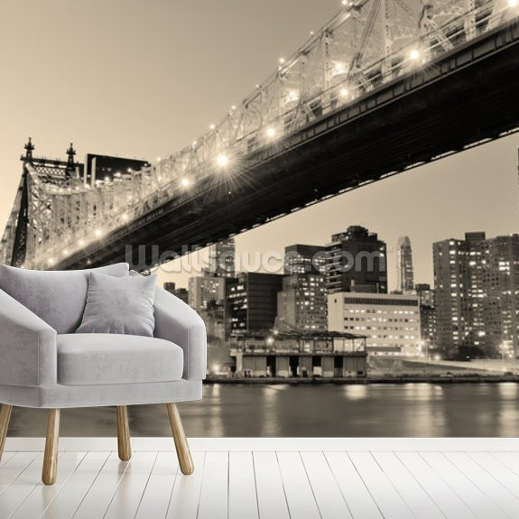 New York Sepia Panorama wall mural room setting