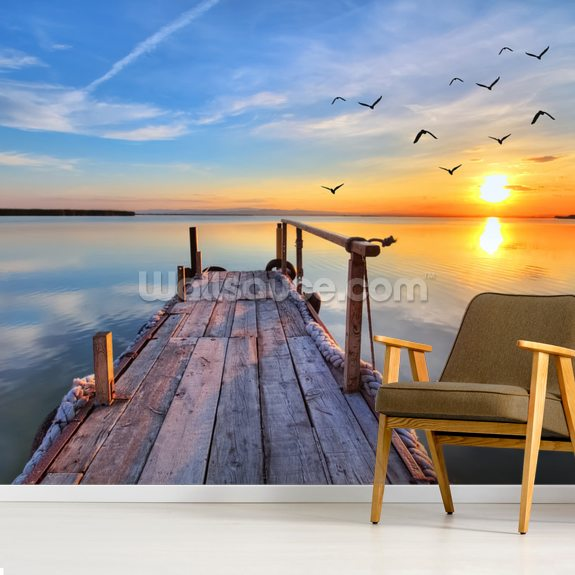 Lake Sunrise mural wallpaper room setting