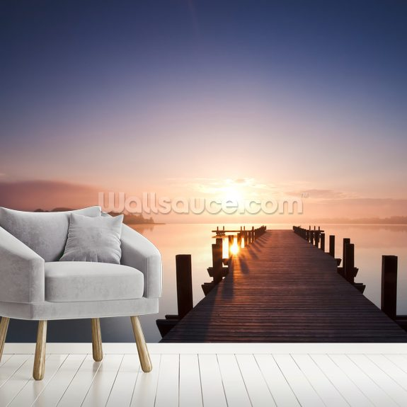 Peaceful Lake View mural wallpaper room setting