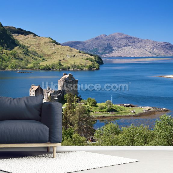 Eilean Donan 'Highlander' Castle wallpaper mural room setting