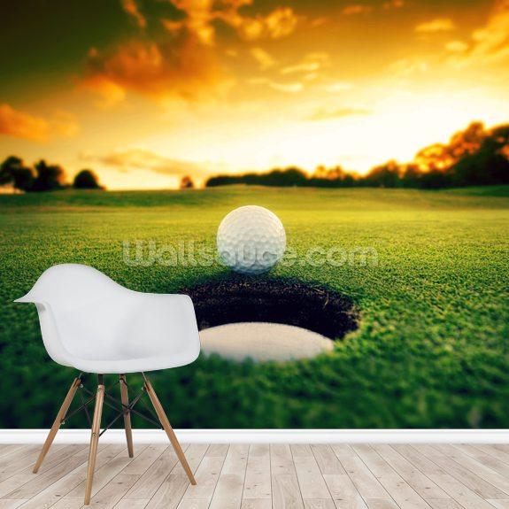 Golf At Sunset Wallpaper Mural Room Setting