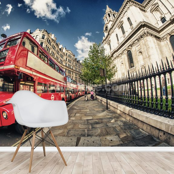 Red Double Decker Bus wallpaper mural room setting