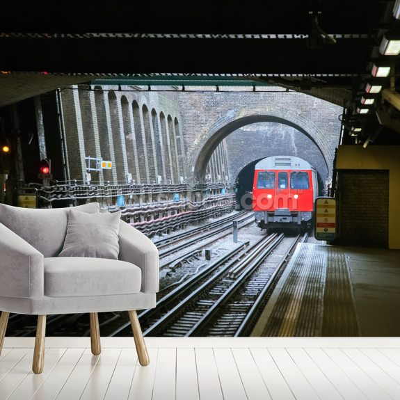 London Underground Train wallpaper mural room setting