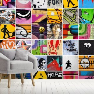Square Street Art Wallpaper Wall Murals