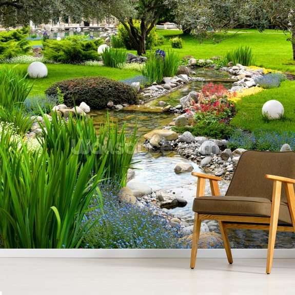 Asian Garden and Pond mural wallpaper room setting