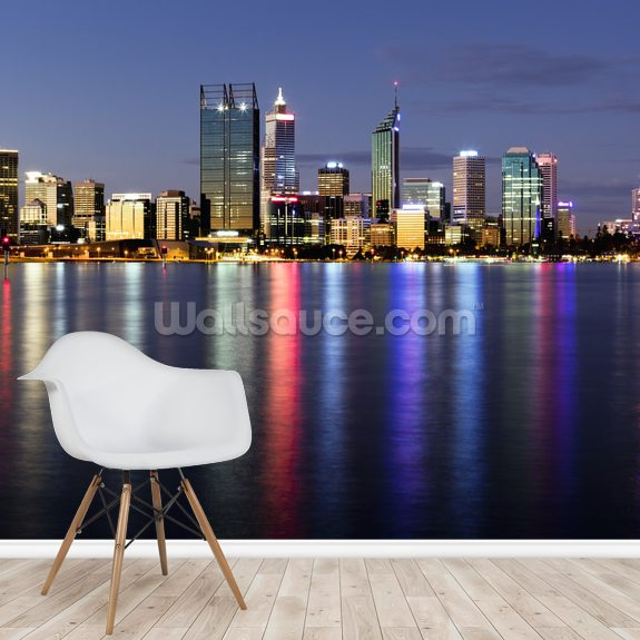 Perth by Night wall mural room setting