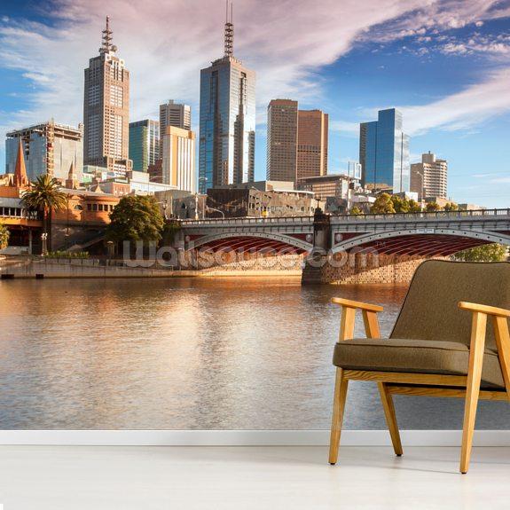 Melbourne Skyline Wallpaper Mural Wallsauce Uk