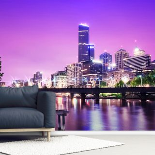 Melbourne at Night Wallpaper Wall Murals