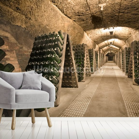 Epic Wine Cellar wallpaper mural room setting