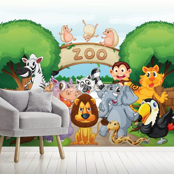 Animal Zoo wallpaper mural room setting