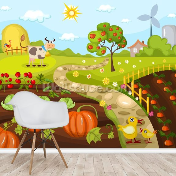 Harvest Time wall mural room setting