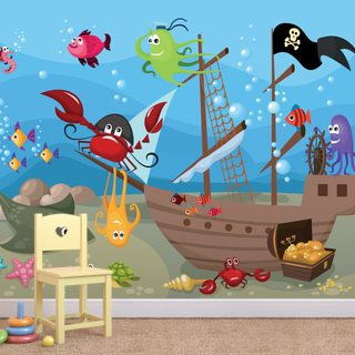 Sunken Pirate Ship Wallpaper Wall Murals