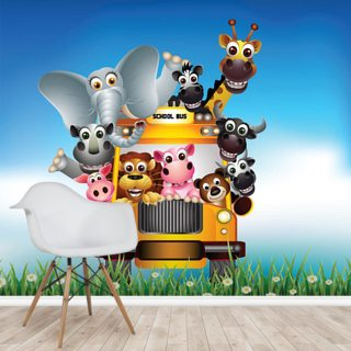 Cartoon Animal Bus Wallpaper Wall Murals
