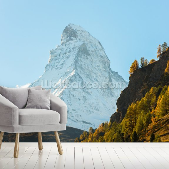 Matterhorn, Swiss Alps wallpaper mural room setting
