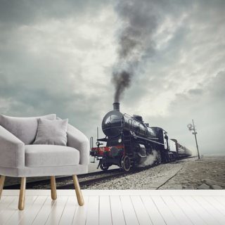 Black Steam Train Wallpaper Wall Murals