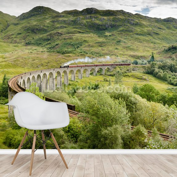 Steam Train On Viaduct wallpaper mural room setting