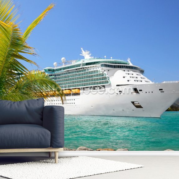 Luxury Cruise Ship Sailing From Port Mural Wallpaper Room Setting