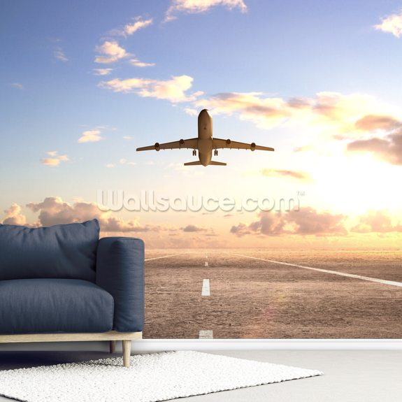 Aeroplane On Runway wall mural room setting