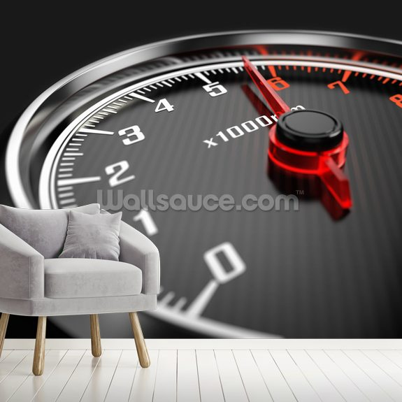 Tachometer wall mural room setting