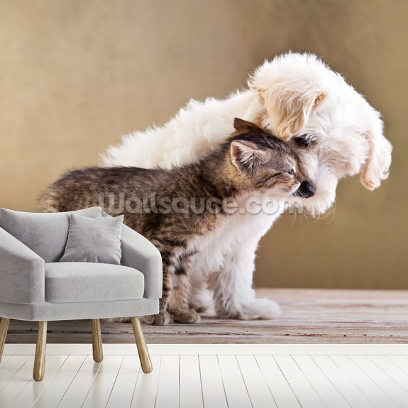 Dog and Cat wallpaper mural room setting