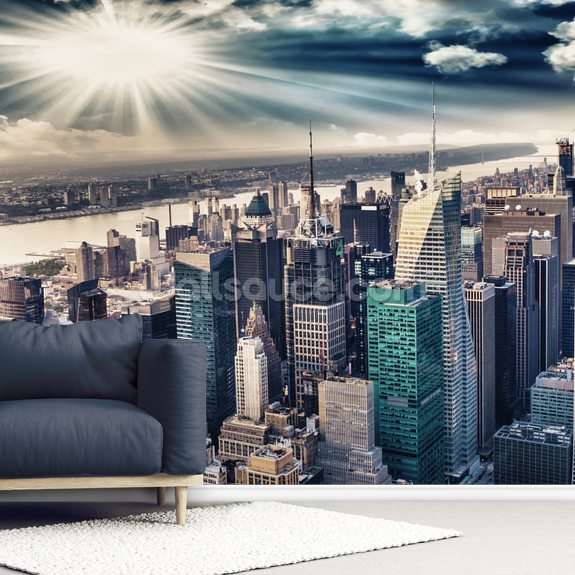 Manhattan Ariel mural wallpaper room setting