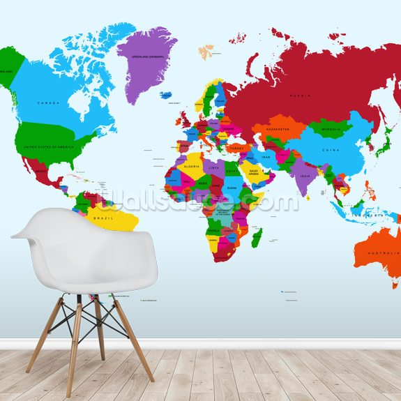 Colour Map of the World mural wallpaper room setting
