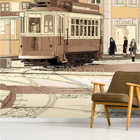 Old Portuguese Tram wallpaper mural room setting