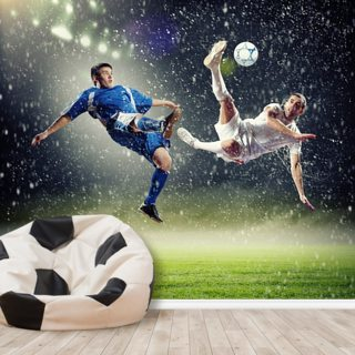 Two Football Players Striking the Ball Wallpaper Wall Murals