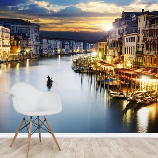 Grand Canal at Night, Venice Wallpaper Wall Murals