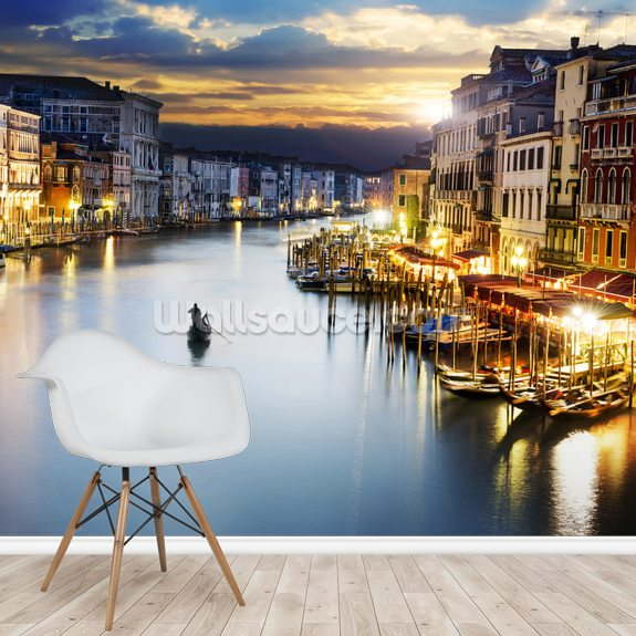 Grand Canal at Night, Venice wallpaper mural room setting