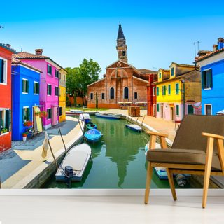 Burano Canal, Houses, Church and Boats