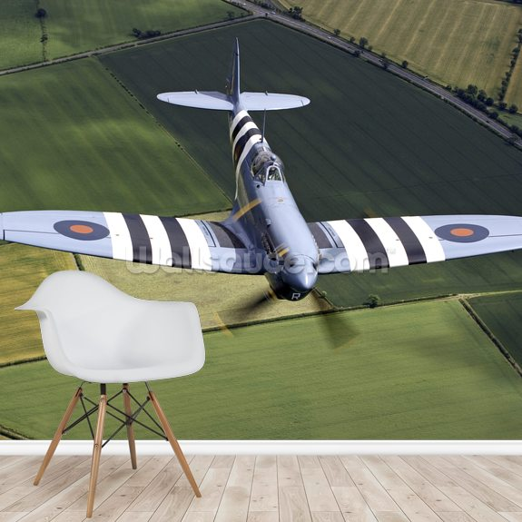 Spitfire with Invasion Stripes wall mural room setting
