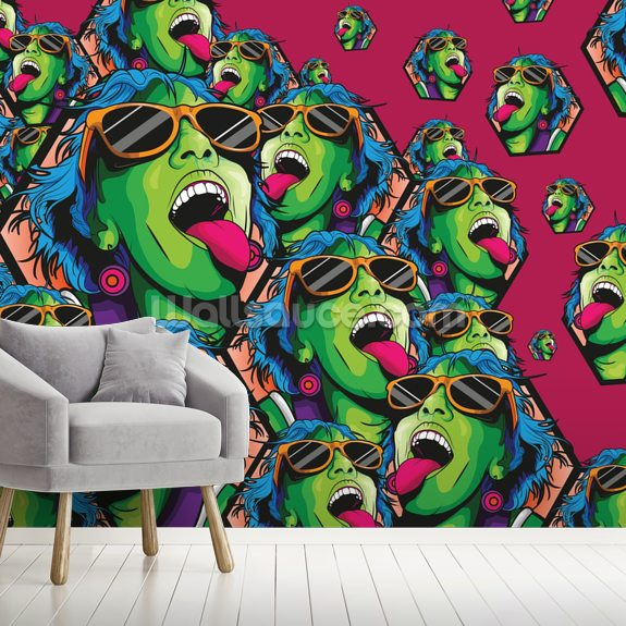 Rave Girl mural wallpaper room setting