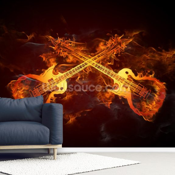 Guitars on Fire mural wallpaper room setting